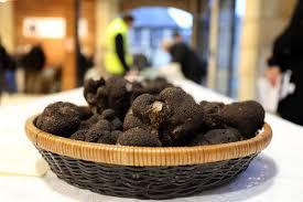 black perigord truffle in a basket