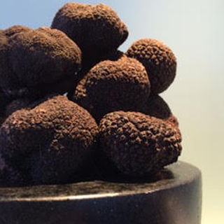 Black Perigord truffles piled in a black marble bowl